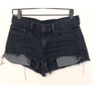 Levi's Black Cutoff/Distressed Denim/Jean Shorts